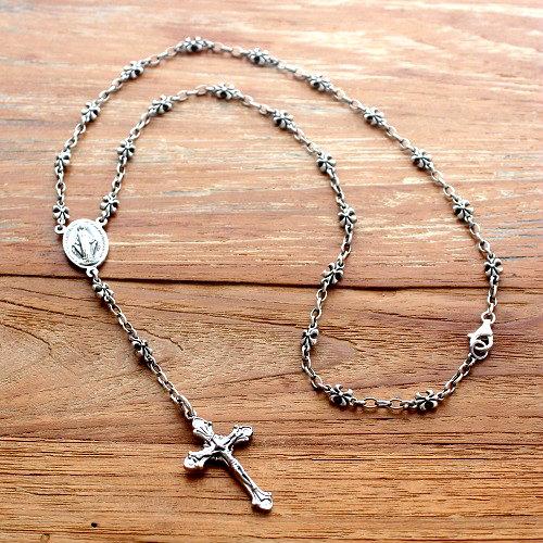 ロザリオ ネックレス シルバー925 クロス 十字架 マリア 聖母マリア キリスト 百合の紋章 フルールドリフ ネックレス