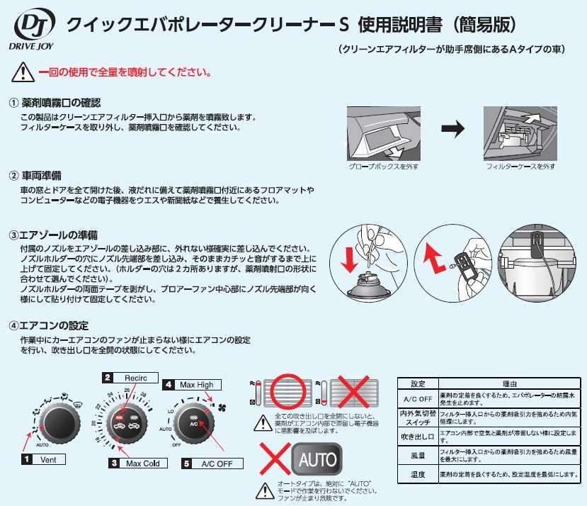 クイックエバポレータークリーナーSエバポレーター洗浄剤タクティーTACTIドライブジョイDRIVEJOY