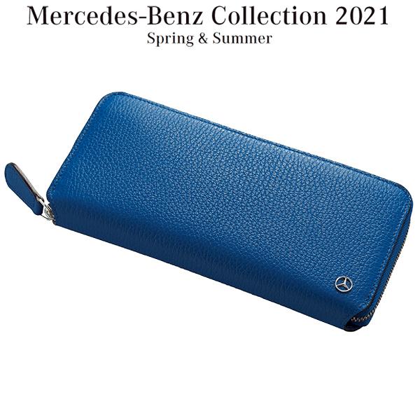 メルセデスベンツコレクション ラウンドジップ ウォレット ブリリアントブルー/グレー 長財布 B91302431