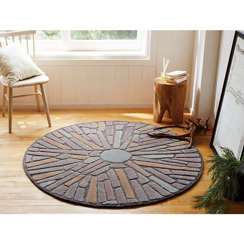 【東リ】ラグTOR3822 140cm ×140cm 大小さまざまな石を組み合わせた石畳調ラグ。