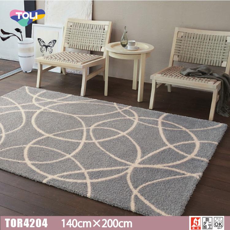 【東リ】ラグ TOR3807(TOR3606) 140cm×200cm遊び毛がでない国産品の定番ラグ。手描きの不均一さを残したサークルパターン。