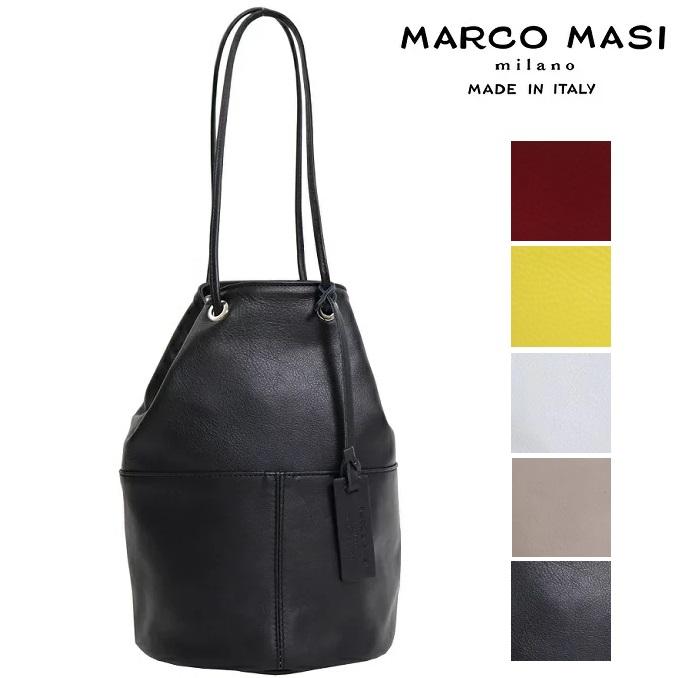 Marco Masi マルコマージ 巾着バッグ Whim Gazette 取り扱い Marco Masi マルコマージ 巾着バッグ ブラック ホワイト バッグ レディース イタリア製 牛革 本革 レザー トートバッグ