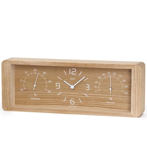 置き時計【Lemnos レムノス】Yokan ヨウカン LC11-06 温湿度計 木目 温度計 湿度計 時計 おしゃれ 人気 デザイン インテリア 北欧 クロック  224536