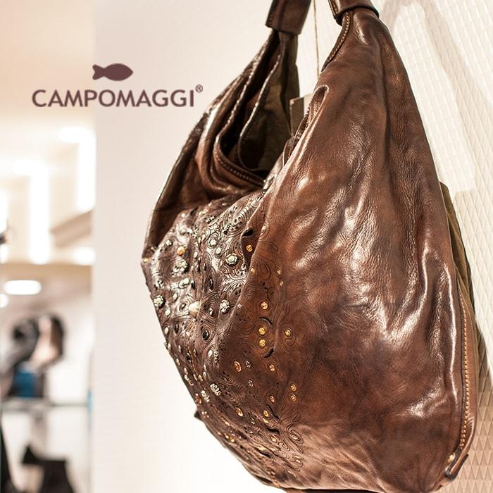 ◇CAMPOMAGGI[カンポマッジ]ビンテージ加工マテリアルコンビネーションレザーカットスタッズコンビワンショルダーバッグ 7A C4705