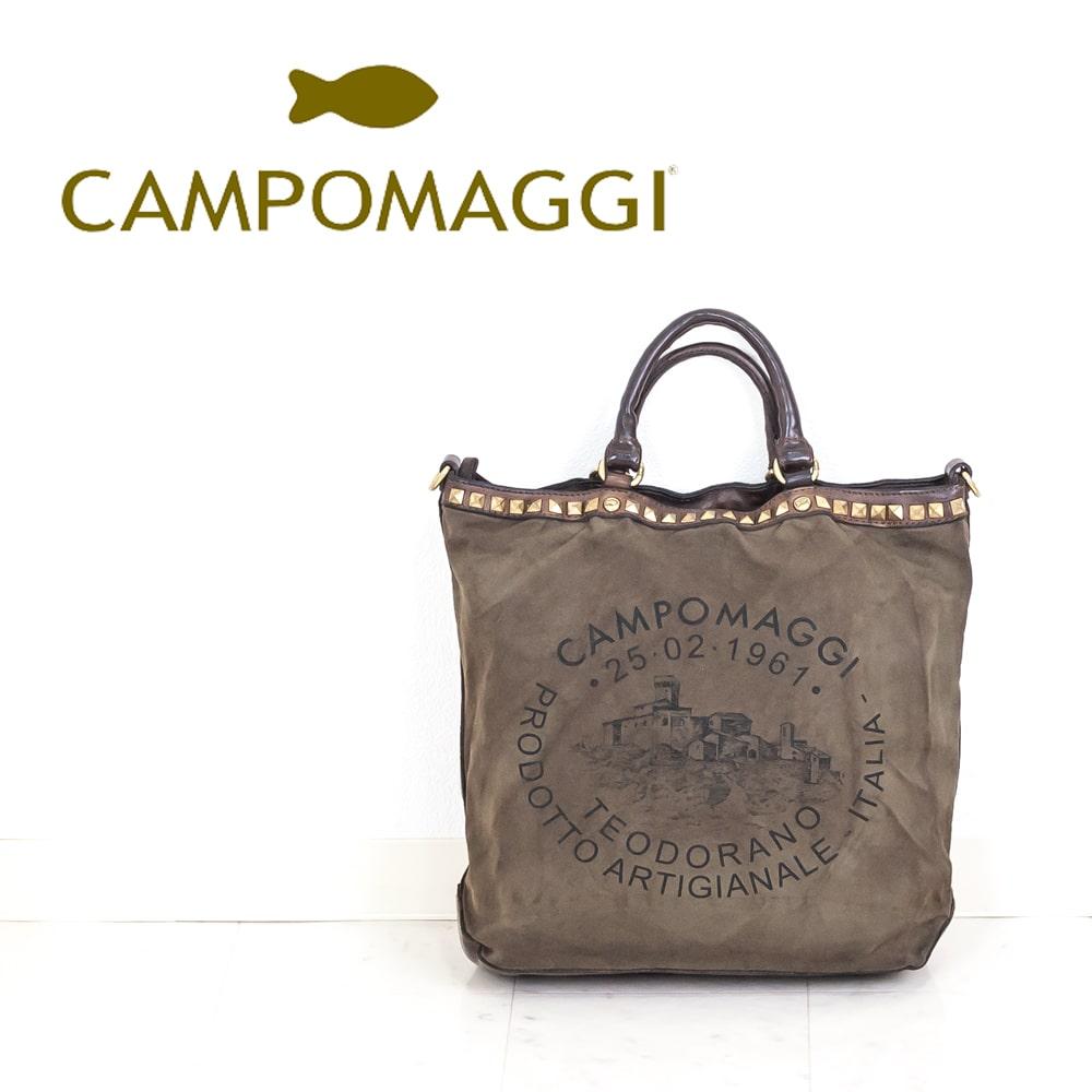 ◇CAMPOMAGGI [カンポマッジ]ビンテージ加工マテリアルコンビネーションビッグロゴトートバッグ8A C010070ND-F1505