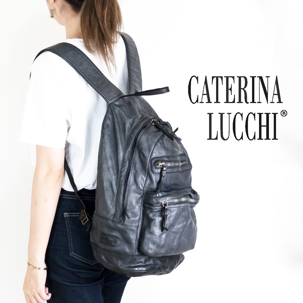 ◇CATERINA LUCCHI [カテリーナルッキ]ウォッシュドレザーラウンドファスナーリュック8A L001450ND C0001 ブラック