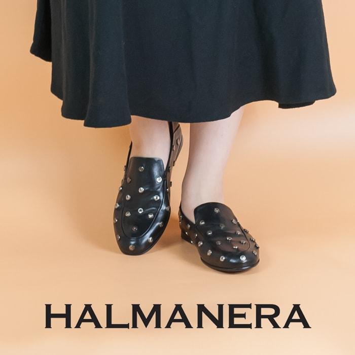 ◇2018 S/S新作◇ HALMANERA[ハルマネラ]クラッシュスタッズデザインバブーシュタイプスリッポンブラック ELISIANE04