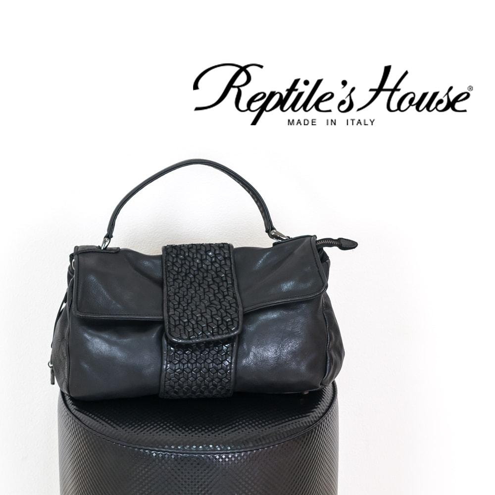 ◇REPTILE'S HOUSE [レプタイルズハウス]センターメッシュ2WAYミディアムバッグ8A H455V66476 ブラック