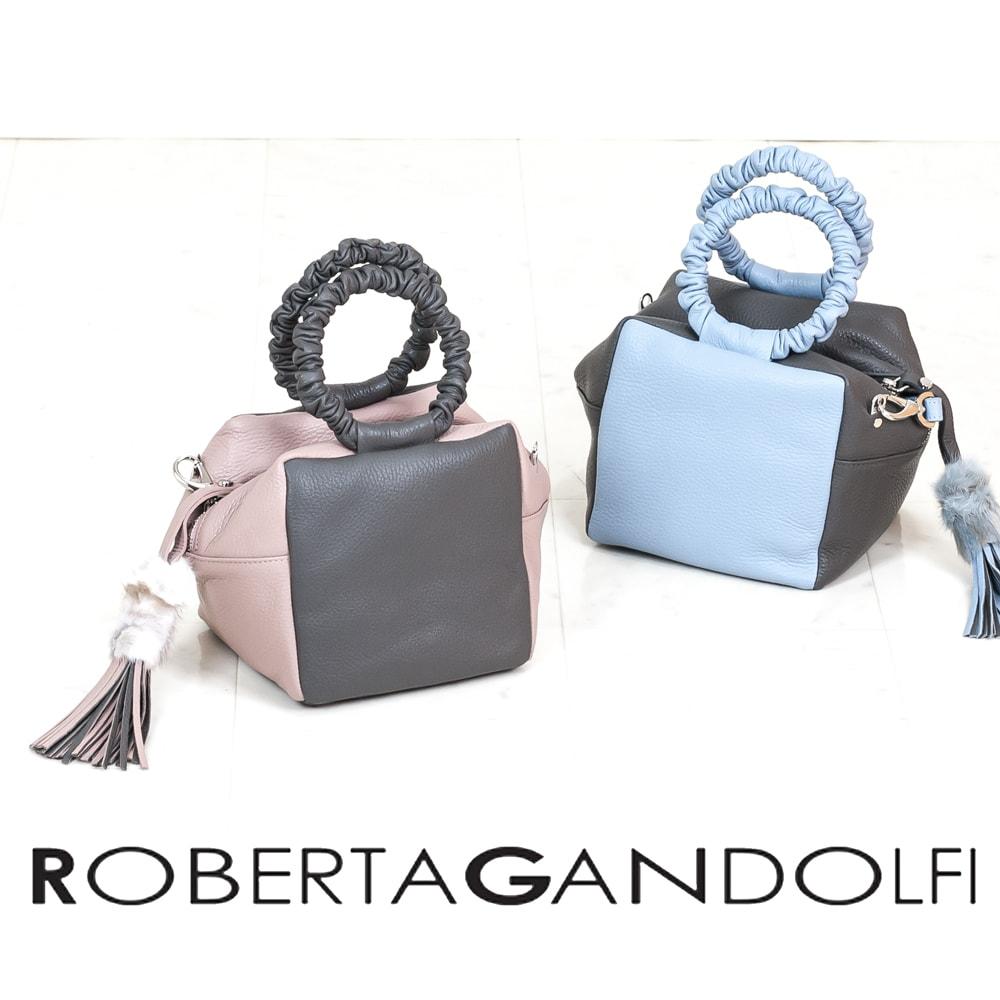 ◇ROBERTA GANDOLFI[ロベルタ ガンドルフィー]バイカラースクエアミニショルダーバッグ8A RG7100