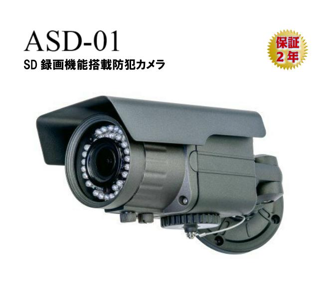 メーカー直販 保証2年 SD sdカード録画 録画 搭載 カメラ 砲弾型 高画質 200万画素 ASD-01 オルタプラス 録画機能付き 256GB