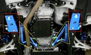 CUSCO(クスコ) パワーブレース フロアフロントレガシィ BR9・BM9 (左右セット、黄部)