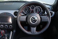 AutoExe (オートエグゼ) Sports Steering Wheel スポーツステアリングホイール レッドステッチ(本革/グリップ部ディンプル加工)エアーバックシステム/ステアリングスイッチ対応RX-8 SE3P 後期 (300001~用)