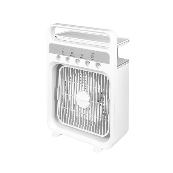 タイマー ミスト 自然風 冷風 切替 霧化式 加湿 冷風扇 卓上 小型 ミニ 3段階 風量調整 600ml 大容量 熱中症対策 扇風機 冷風機 USB ホワイト