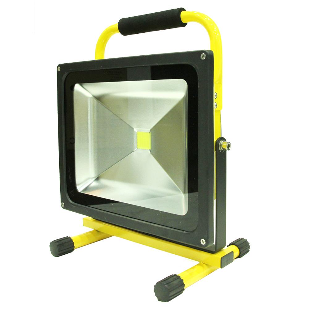 【送料無料】LED投光器 充電式 50W LED作業灯 ワークライト AC100V-DC12V対応/防水 大サイズ 【インテリア・収納】