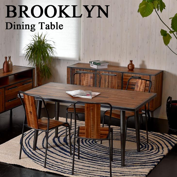 【SALE!通常価格の10%OFF】 ブルックリンスタイル BROOKLYN ダイニングテーブル(木製 食卓テーブル ウッドテーブル 4人掛け ヴィンテージ風 150cm 180cm)