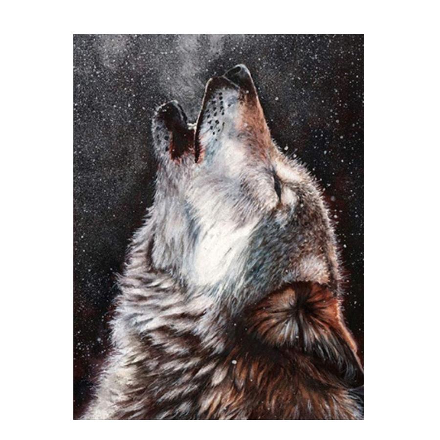 絵画 インテリアアート キャンバス パネルアート Howling Wolf 個性派 60cm×80cm シングルアート