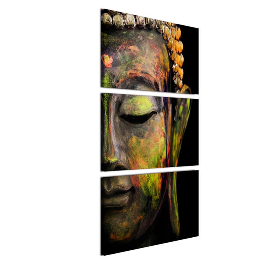 絵画 インテリアアート キャンバス パネルアート Buddha Face 個性派 60cm×40cm 3枚セット