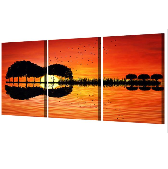 絵画 インテリアアート キャンバス パネルアート Guiter Tree Lake Sunset 個性派 60cm×40cm 3枚セット