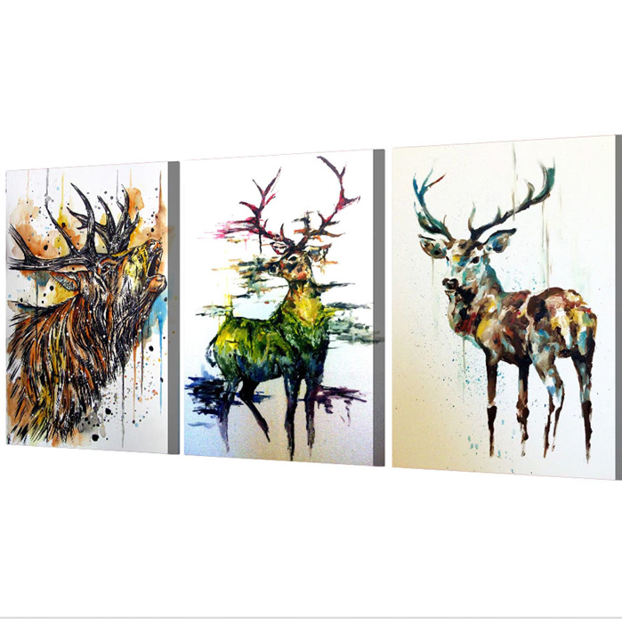 絵画 インテリアアート キャンバス パネルアート Graffiti Elk 個性派 60cm×40cm 3枚セット