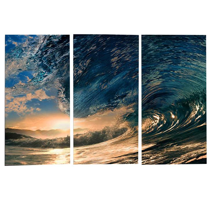 絵画 インテリアアート キャンバス パネルアート Ocean Wave 個性派 40cm×80cm 3枚セット