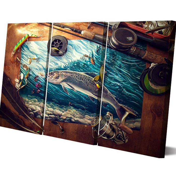 絵画 インテリアアート キャンバス パネルアートFishing Rod with Trout 個性派 40cm×80cm 3枚セット