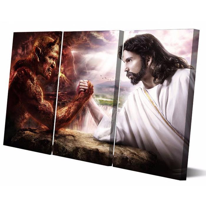 絵画 インテリアアート キャンバス パネルアートJesus vs. Devil 個性派 40cm×80cm 3枚セット