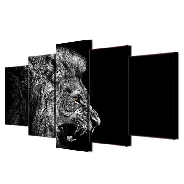 キャンバス パネルアート インテリアアートLion in Balck & White 5枚セット