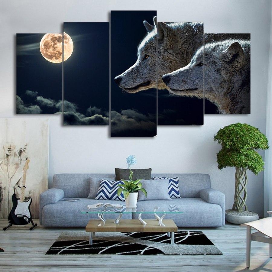絵画 キャンバス パネルアート インテリアアート White Wolves with Moon 5枚セット
