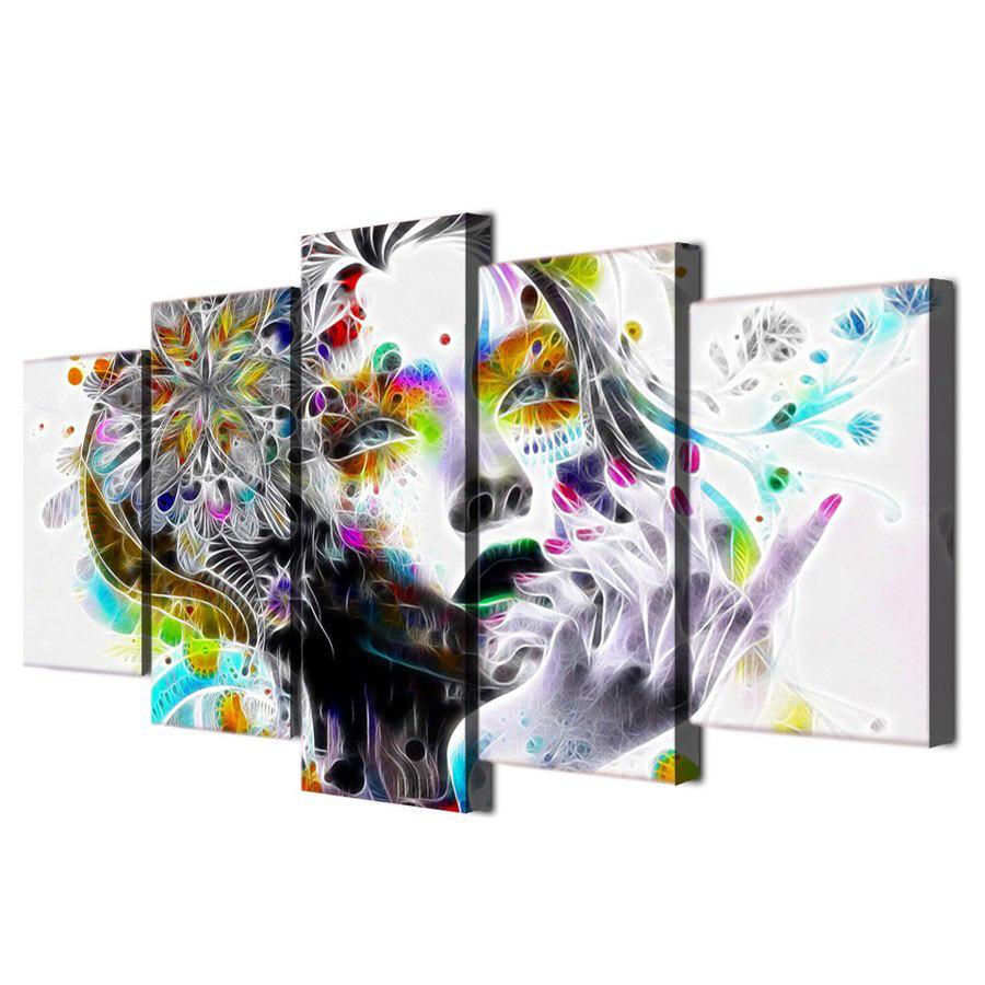 絵画 キャンバス パネルアート インテリアアート サイケデリックウォーターカラーガール Psychedelic Water Color Girl 個性派 5枚セット