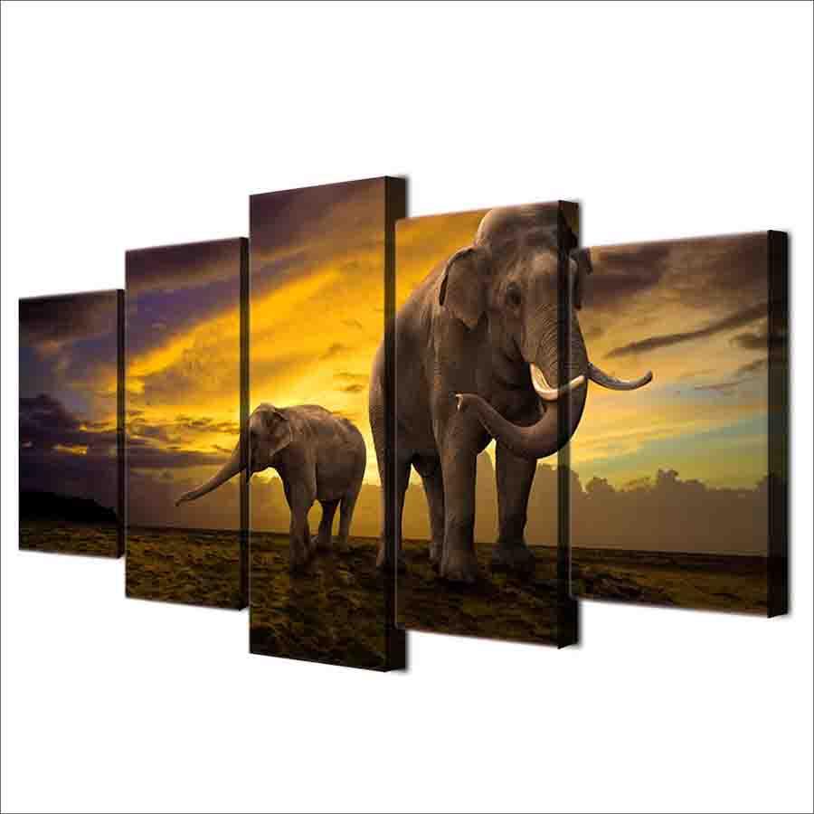 絵画 キャンバス パネルアート インテリアアート サンセットエレファント Sunset Elephant 個性派 5枚セット