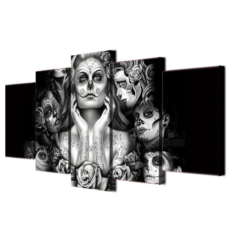 キャンバス パネルアート インテリアアート スカル ドクロ Day of dead face art painting 個性派 5枚セット