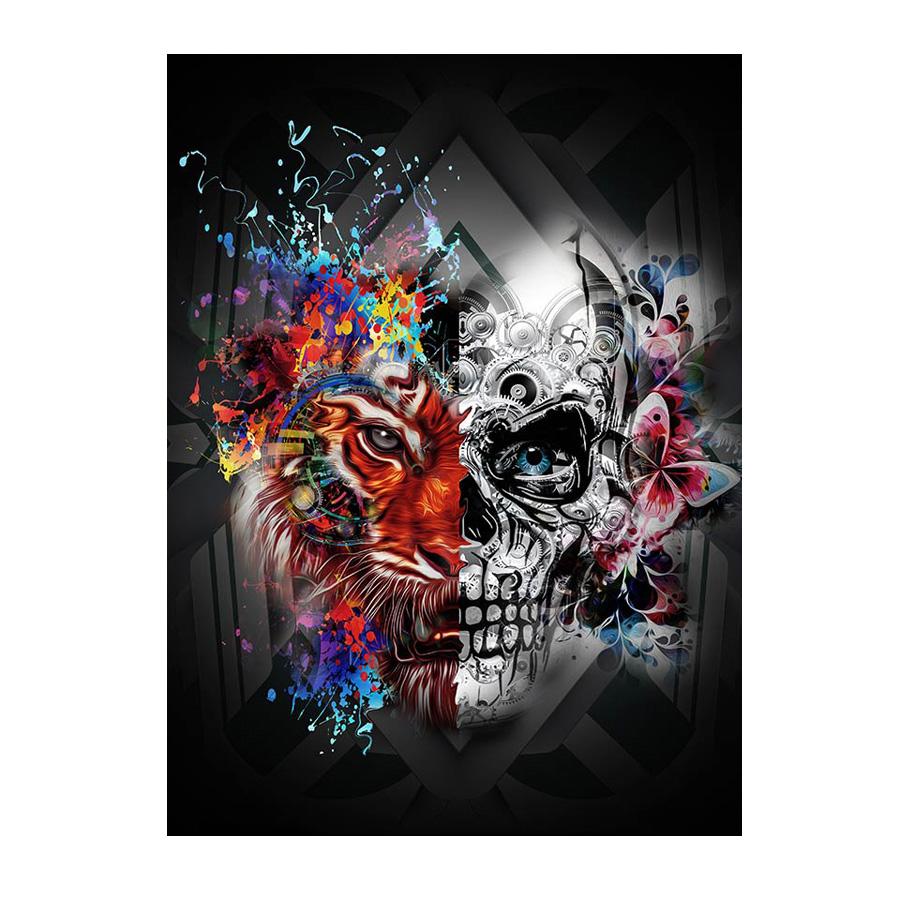 インテリアアート キャンバス パネルアート Tiger & skull 個性派 60cm×80cm シングルアート