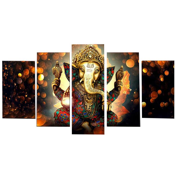 絵画 キャンバス パネルアート インテリアアート Ganesha Elephant 5枚セット