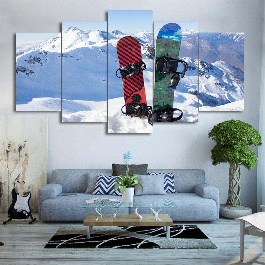 キャンバス パネルアート インテリアアートSnowboard in Snow Mountain 5枚セット