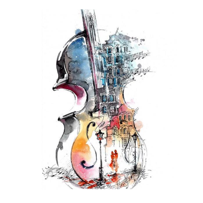 絵画 インテリアアート キャンバス パネルアート Abstract Violin 個性派 60cm×80cm シングルアート