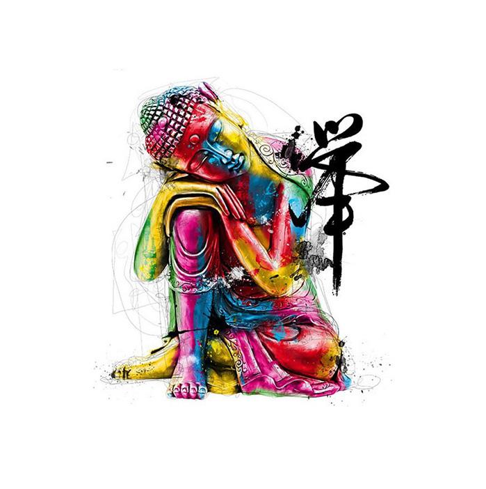 絵画 インテリアアート キャンバス パネルアート Colordul Buddha 個性派 60cm×80cm シングルアート