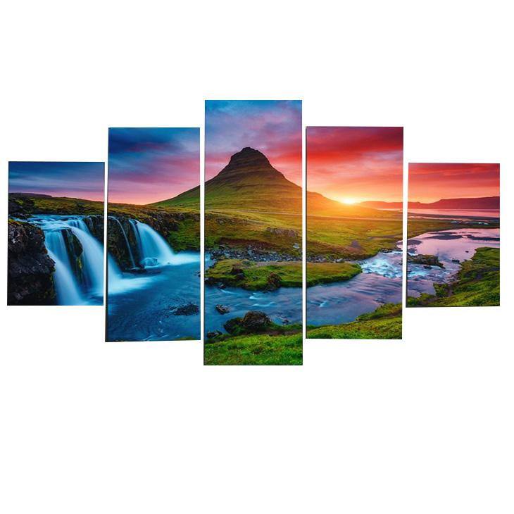 絵画 キャンバス パネルアート インテリアアートBeautiful Iceland Waterfalls 5枚セット