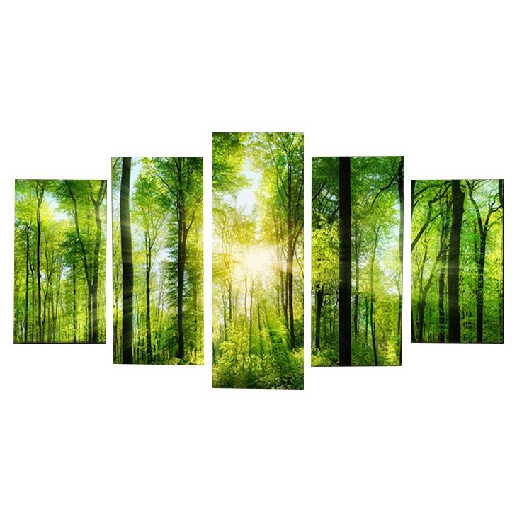 絵画 キャンバス パネルアート インテリアアート Spring Verdurous Forest 5枚セット