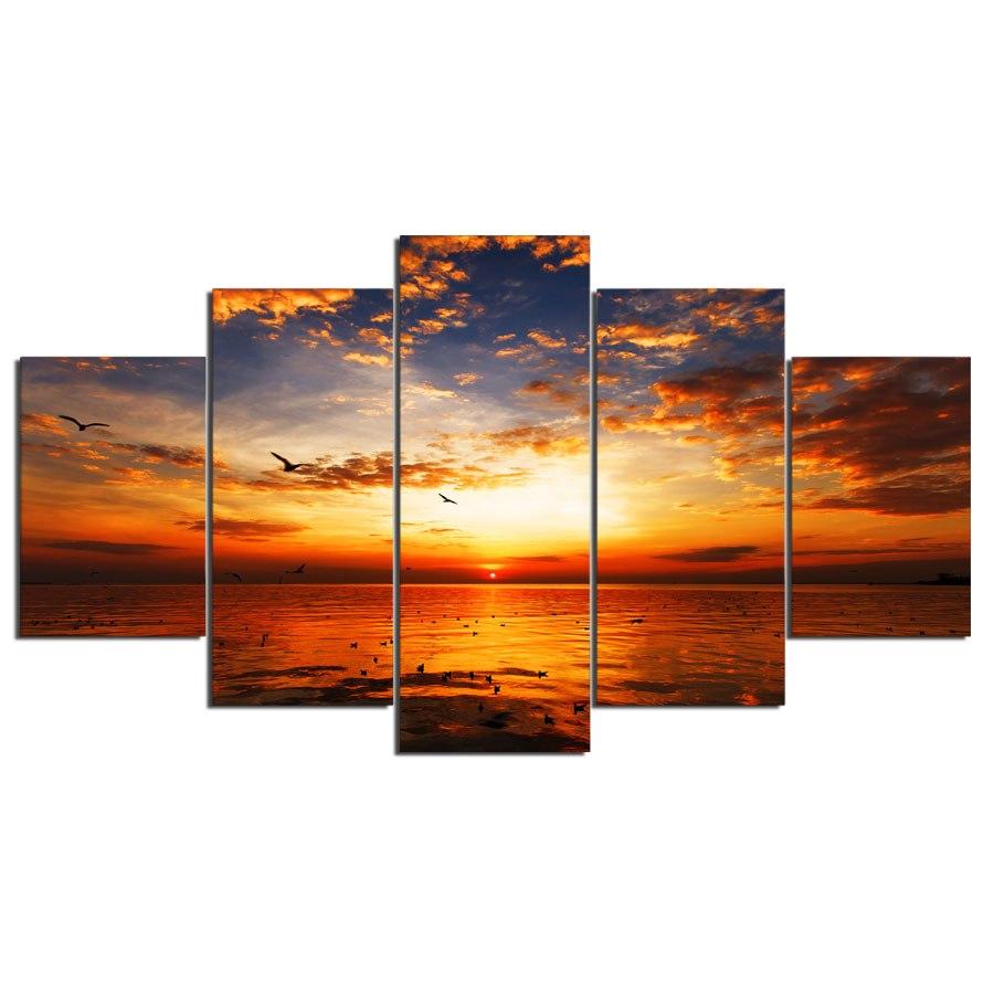絵画 キャンバス パネルアート インテリアアート Sunset On Beach 5枚セット