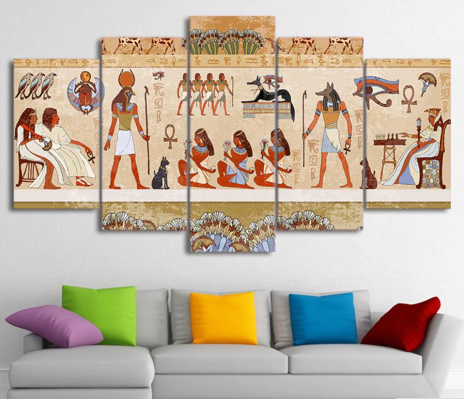 キャンバス パネルアート インテリアアート Egyptian 5枚セット