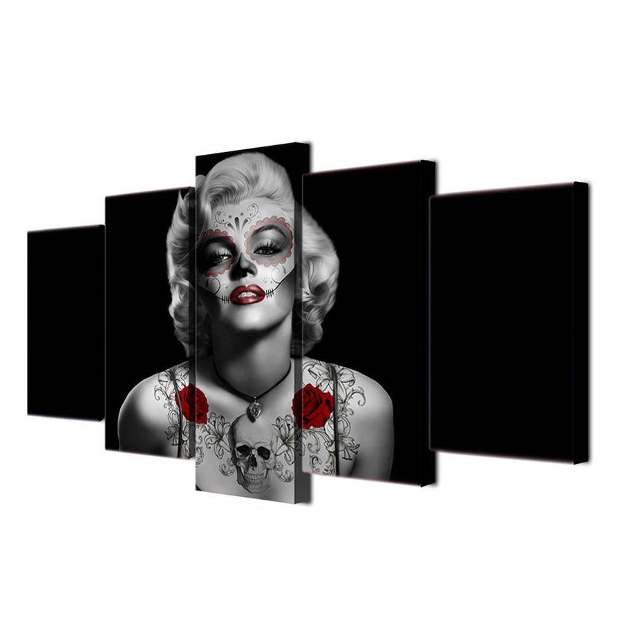 絵画 キャンバス パネルアート インテリアアート Marilyn Monroe with Tatoo Red Rose 5枚セット