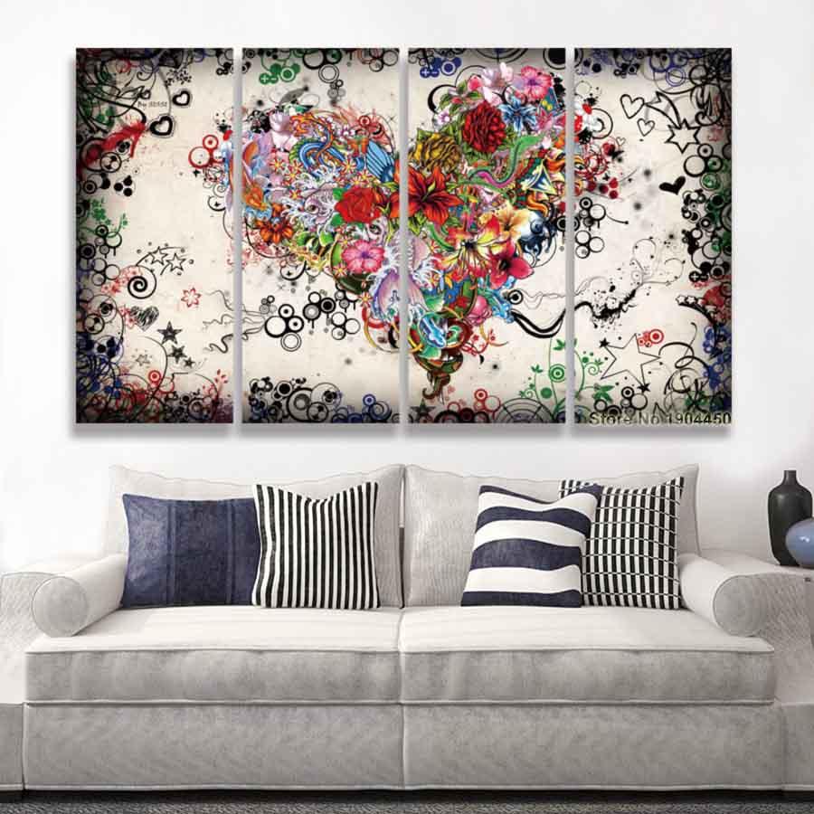 キャンバス インテリアアート パネルアート Colorful Cat 個性派 30cm×80cm 4枚セット