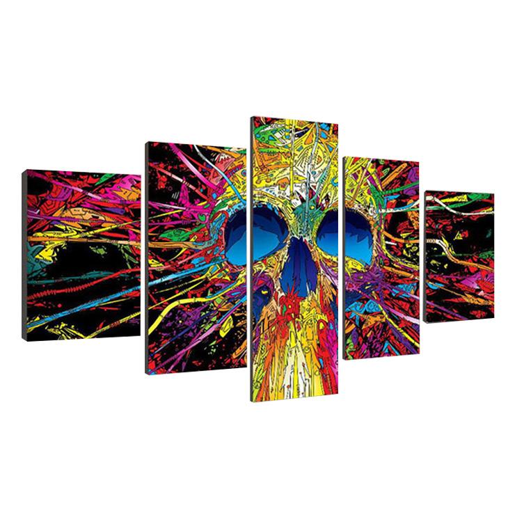 絵画 パネルアート キャンバス インテリアアート Colorful SkullSkeleton 個性派 5枚セット