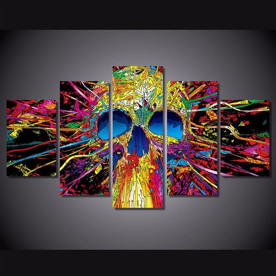 パネルアート キャンバス インテリアアート Colorful SkullSkeleton 個性派 5枚セット