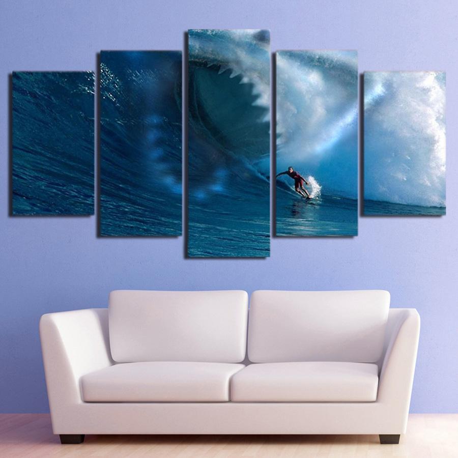 キャンバス パネルアート インテリアアート 海 波 ウェイヴ Sharks Surf The Waves 個性派 5枚セット