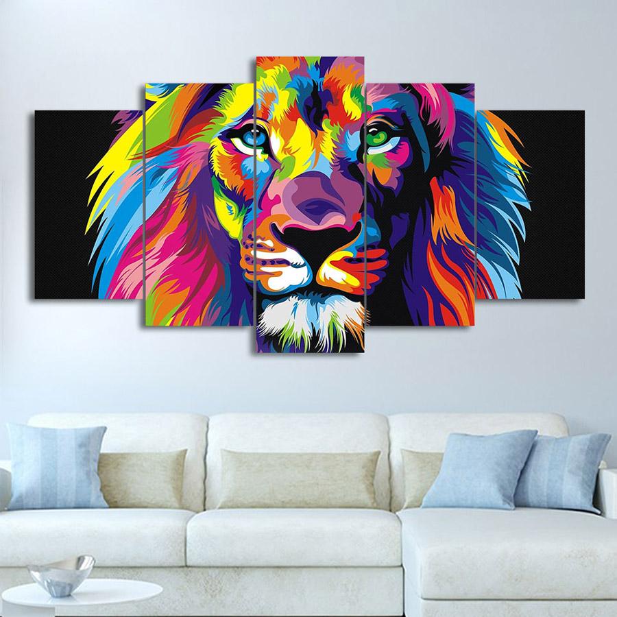 絵画 キャンバス パネルアート インテリアアート 絵画 Colorful Lion 個性派 5枚セット