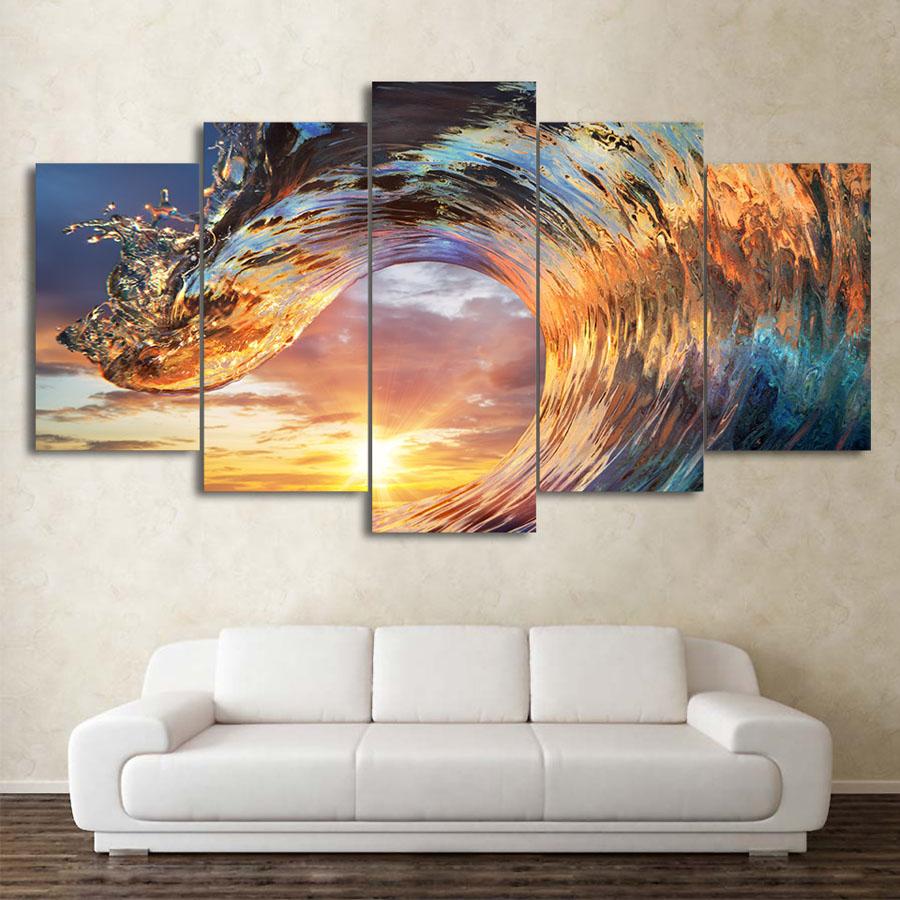 インテリアアート キャンバス パネルアート 海 波 ウェイブ ウェイヴ Wave Sunset Ocean 個性派 5枚セット