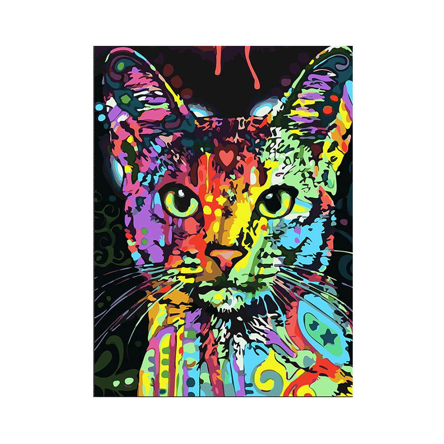 インテリアアート キャンバス パネルアート 動物 アニマル ネコ 猫 Colorful Cat 個性派 50cm×70cm シングルアート