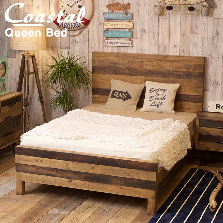ベッド クイーンサイズ 西海岸スタイル クイーンベッド 木製ベッド ベットフレーム サーフ系 西海岸風インテリア