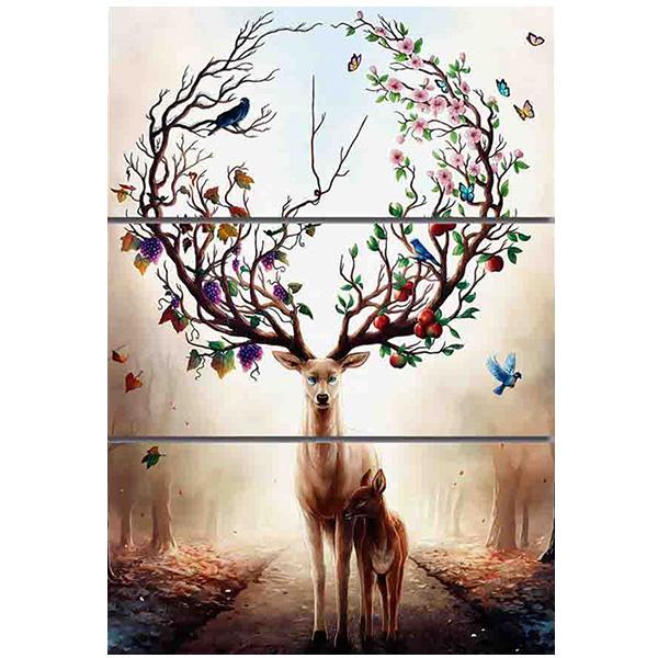 絵画 インテリアアート キャンバス パネルアートDream Forest Elk 個性派 40cm×80cm 3枚セット
